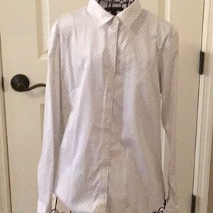 Woman's cream and black banana republic blouse
